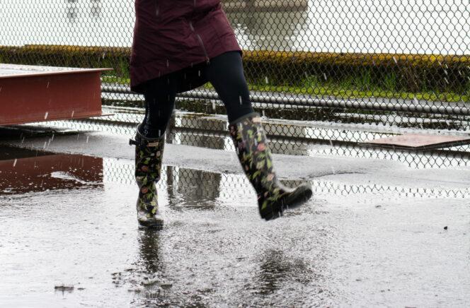 Walking in the rain in Vancouver