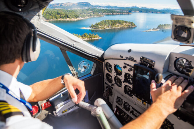View of the Gulf Islands from a floatplane