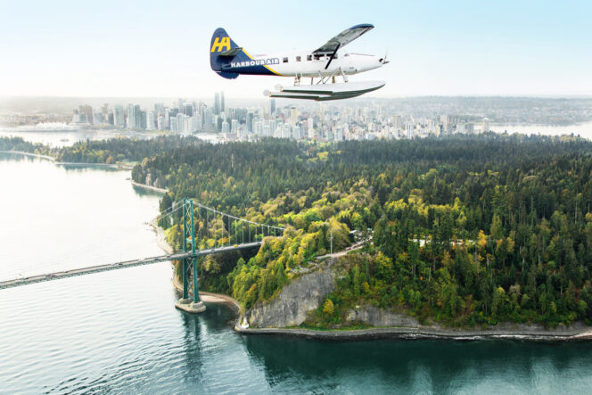Float plane above Stanley Park and downtown Vancouver