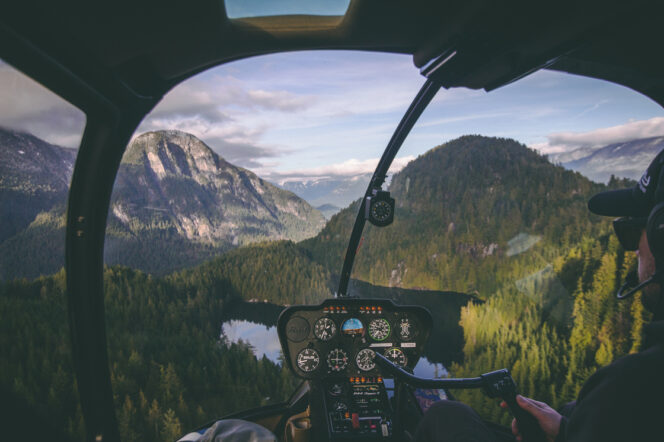 View of BC mountains from a helicopter