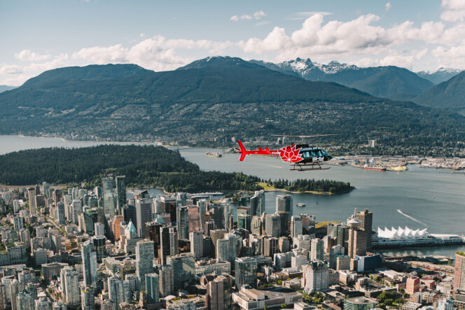 Helicopter over downtown Vancouver