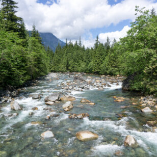 View of Gold Creek from the bridge in Golden Ears Provincial Park