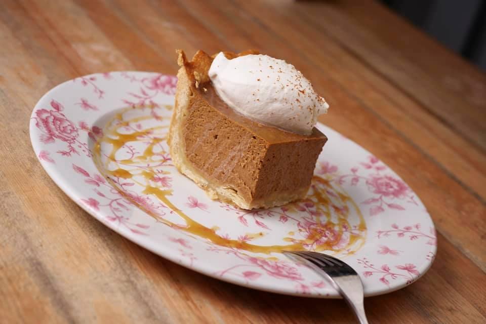 Pumpkin pie for Thanksgiving dinner at Honey Salt in Vancouver