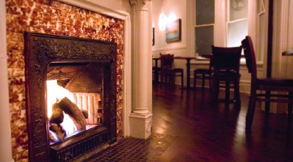 The cozy fireplace at Lupo in Vancouver