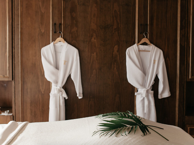 Robes hanging at The Spa at the Wedgewood in Vancouver