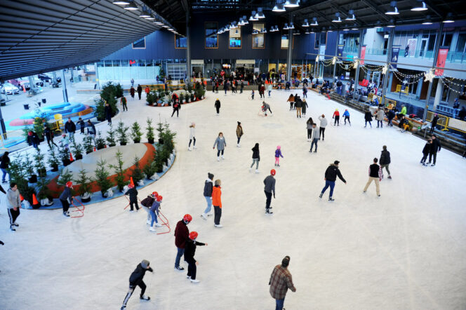 Skaters at the Shipyards Skate Plaza in North Vancouver