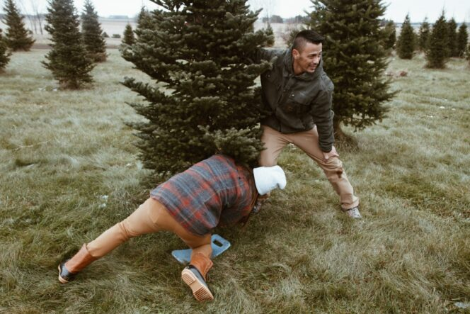Two men cutting down a Christmas tre