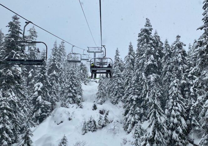 Grouse Mountain ski lift and snow-covered trees
