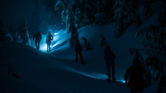 Moonlight snowshoe tour on Grouse Mountain