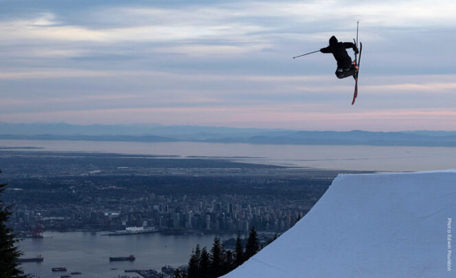 A skier at the Grouse Mountain Terrain Park