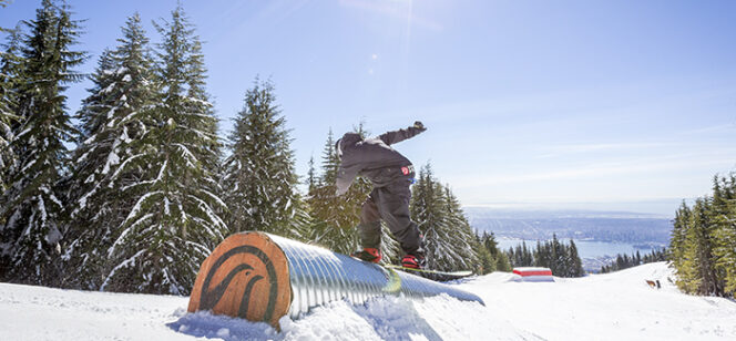 Snowboarder at Grouse Mountain Terrain Park