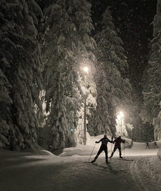 Cross country skiing at night at Cypress Mountain near Vancouver