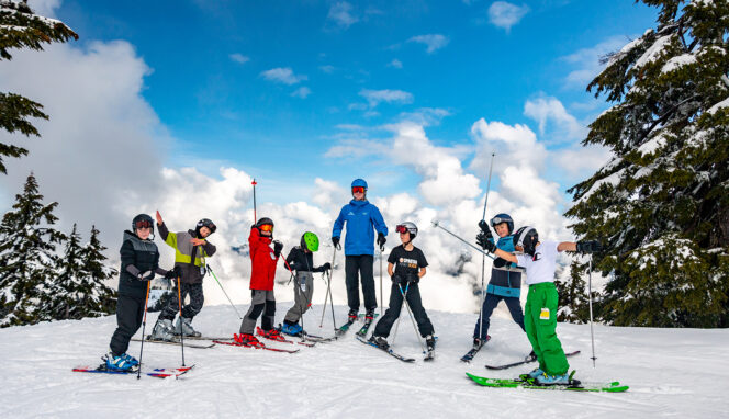 Kids take a ski lesson at Mount Seymour in Vancouver