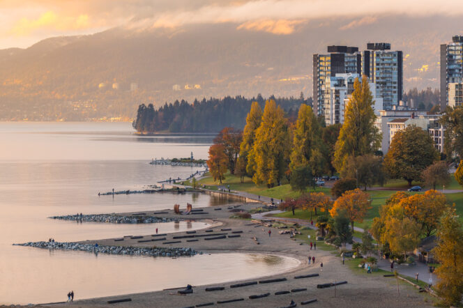 An aerial view of Sunset Beach in Vancouver at sunset