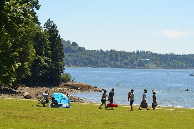 People set up a picnic on the grass near the beach at Belcarra Regional Park