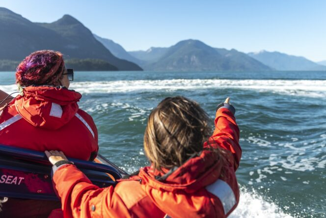 A child points at wildlife in the ocean on a boat tour near Vanocuver