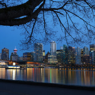 Nighttime view of downtown Vancouver from the Stanley Park Seawall