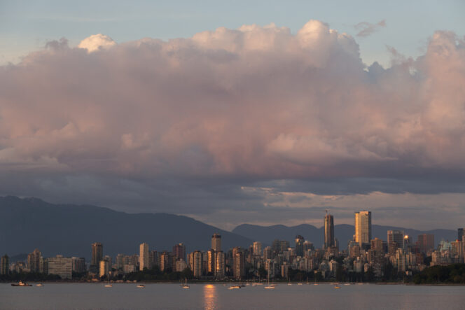Sunset over the Vancouver skyline from Jericho Beach