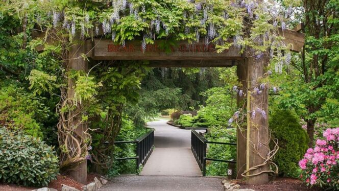 Entrance to Bear Creek Gardens in Surrey near Vancouver, BC