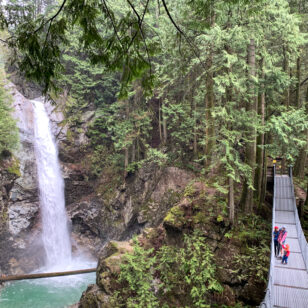Cascade Falls and suspension bridge in Mission near Vancouver