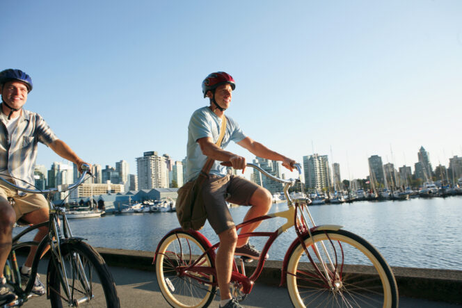 Cyclists on the Seawall in Vancouver
