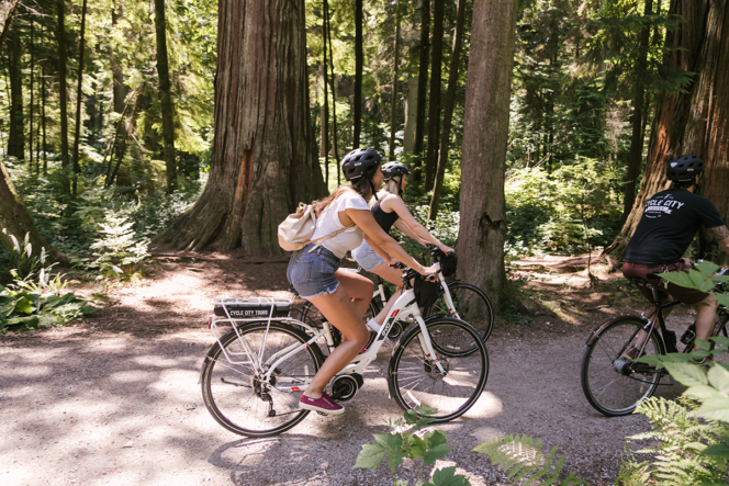 e-biking in Stanley Park