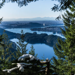 Vew of Sasamat Lake and Burrard Inlet from the Diez Vistas Trail