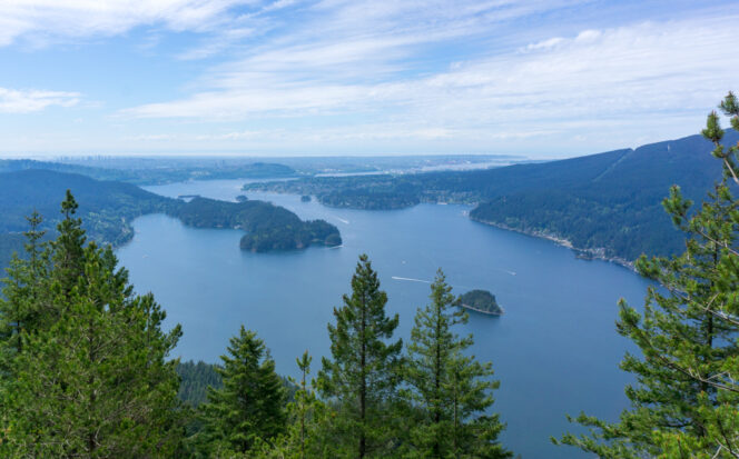 Indian Arm and Deep Cove from the Diez Vistas Trail near Vancouver