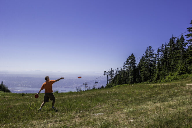 Disc golfing at Grouse Mountain near Vancouver