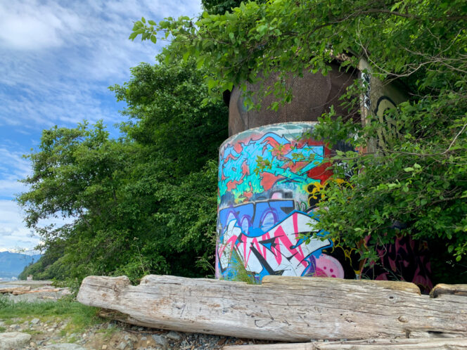 Graffiti-covered WWII era tower in Pacific Spirit Park