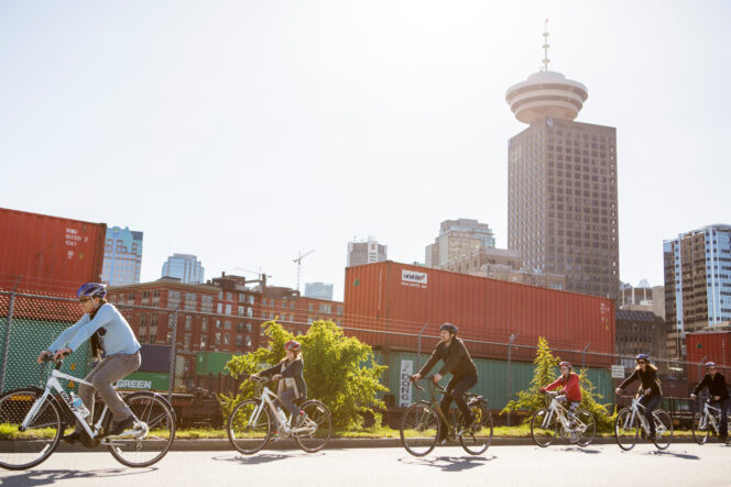 Cyclists on a tour in Vancouver