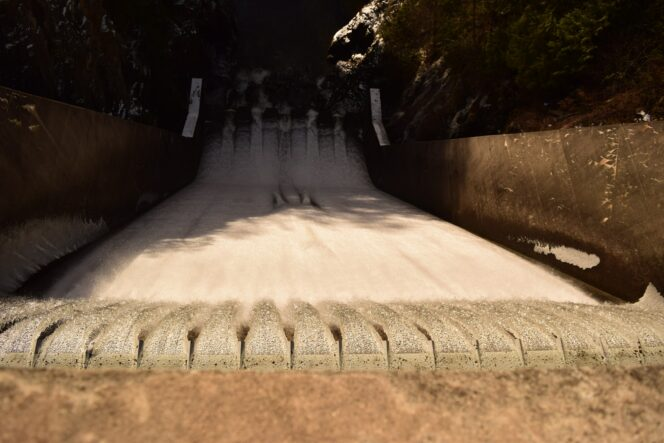 Looking down the spillway at the Cleveland Dam in North Vancouver