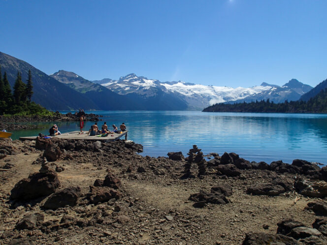 Hikers at the boat dock on Garibaldi Lake