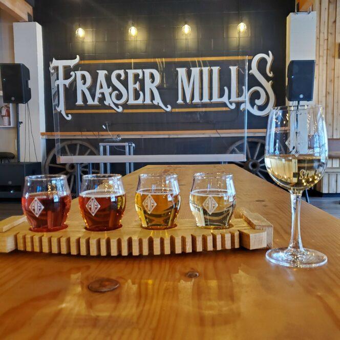 Flight of beer at Fraser Mills Fermentation Company in Port Moody