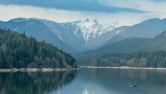 Looking towards the Lions from Cleveland Dam in North Vancouver